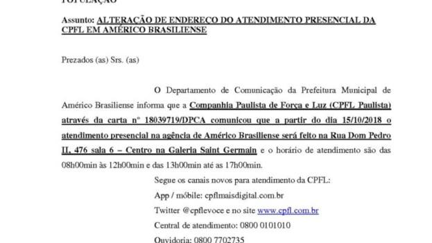 Posto de Atendimento da CPFL Paulista Muda de Endereço em Américo Brasiliense