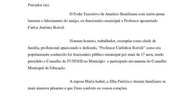 """NOTA DE PESAR """"PROFESSOR CARLINHOS BORTOLI"""""""